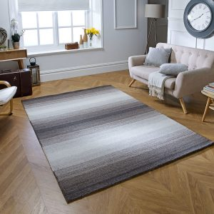 Simple, grey stripe modern rug