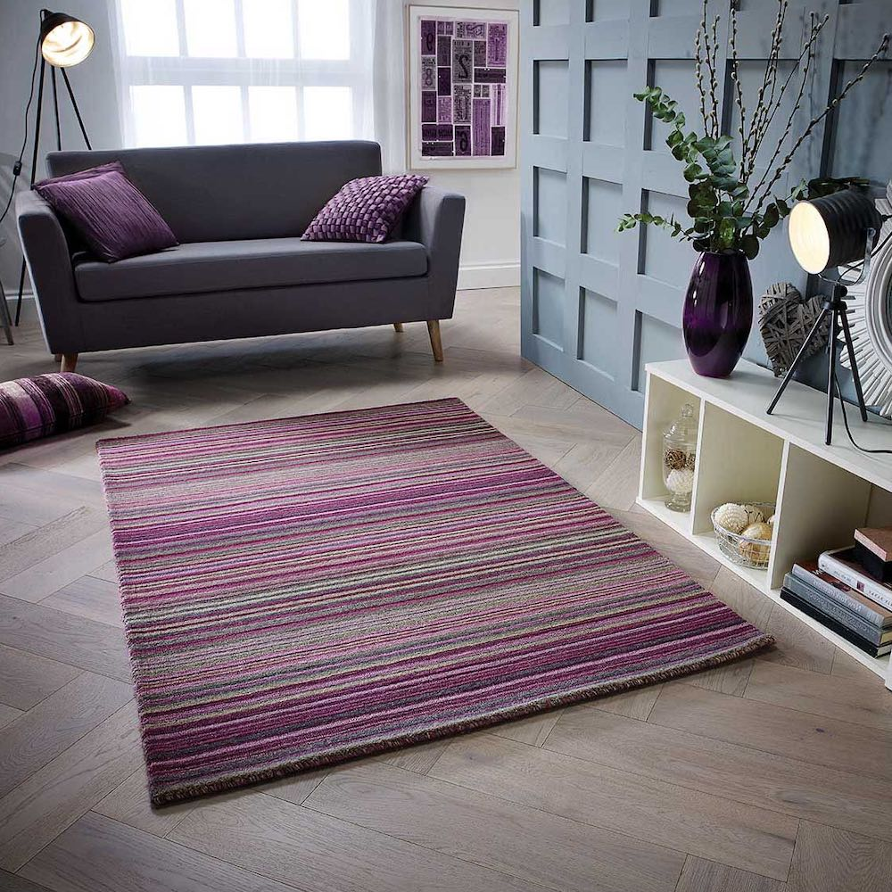 Berry stripe rug
