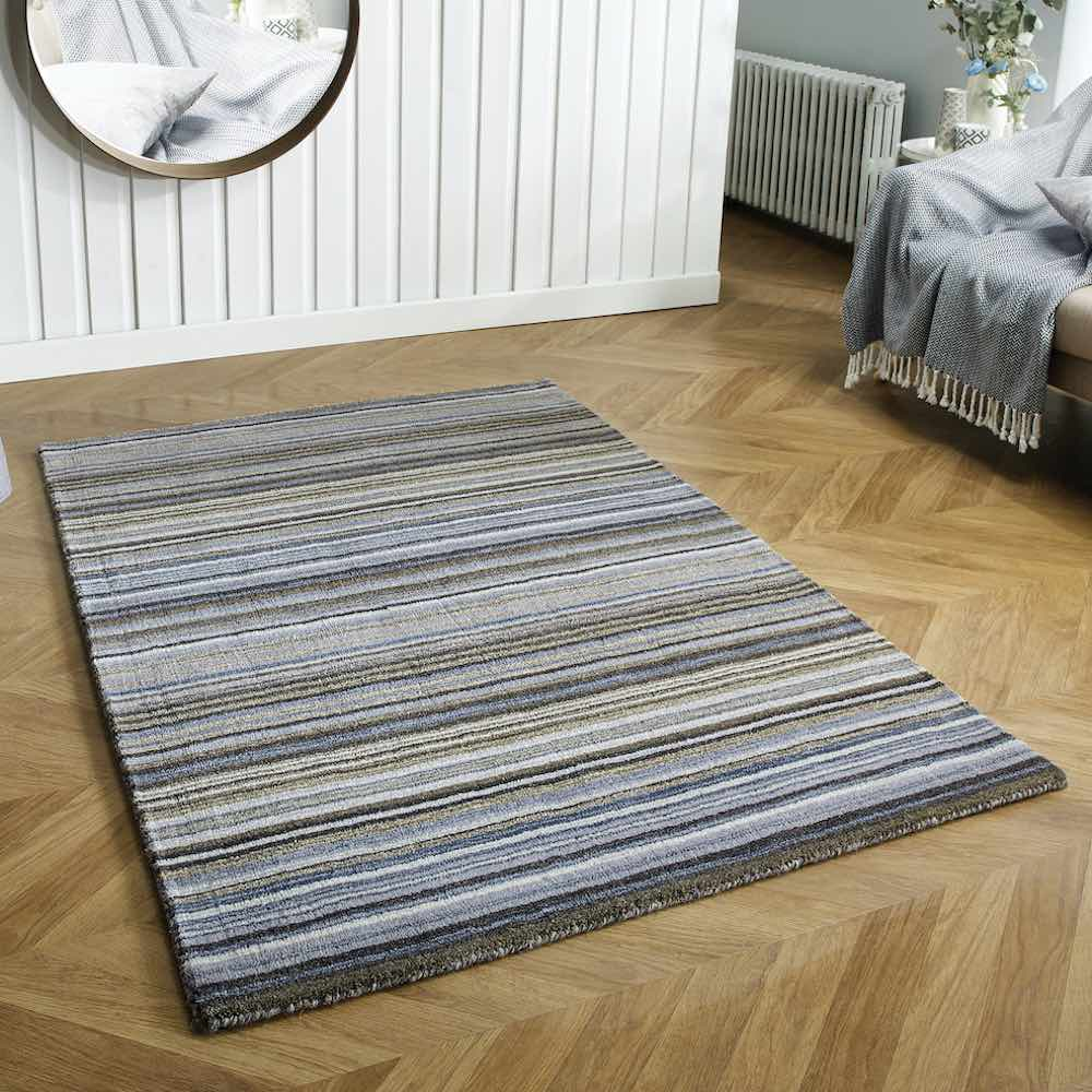 Grey stripe rug