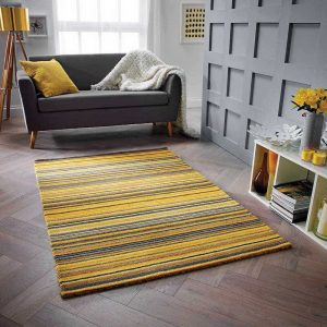 Ochre Yellow stripe rug