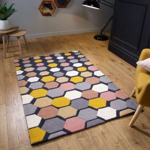 Descent Charcoal geometric pattern rug