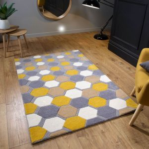 Descent Grey Geometric Pattern Rug