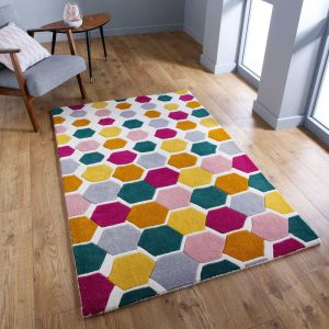 Descent Multi-coloured Geometric Pattern Rug