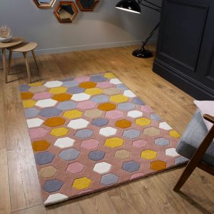 Descent Pink geometric pattern rug