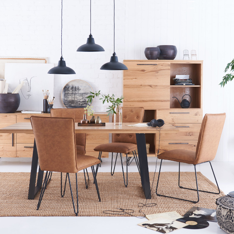 Modern, industrial dining table