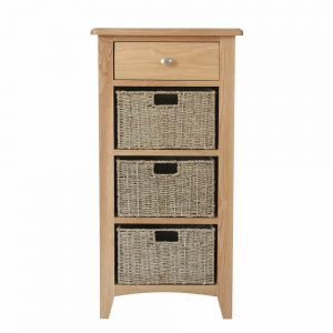 Galaxy Oak 1 Drawer 3 Basket Unit