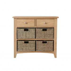 Galaxy Oak 2 Drawer 4 Basket Unit