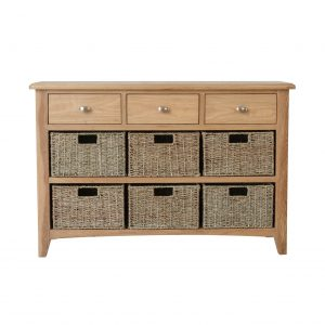 Galaxy Oak 3 Drawer 6 Basket Unit