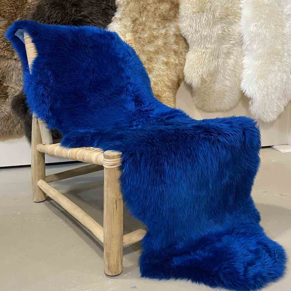 Cobalt Blue Sheepskin Rug