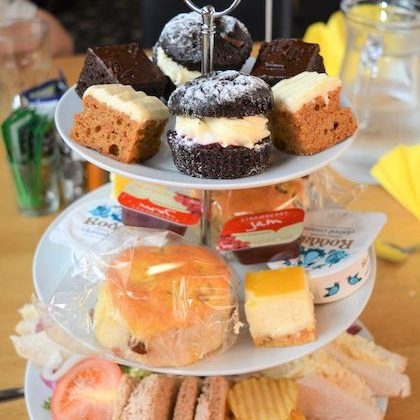 Afternoon tea and cake tiered platter