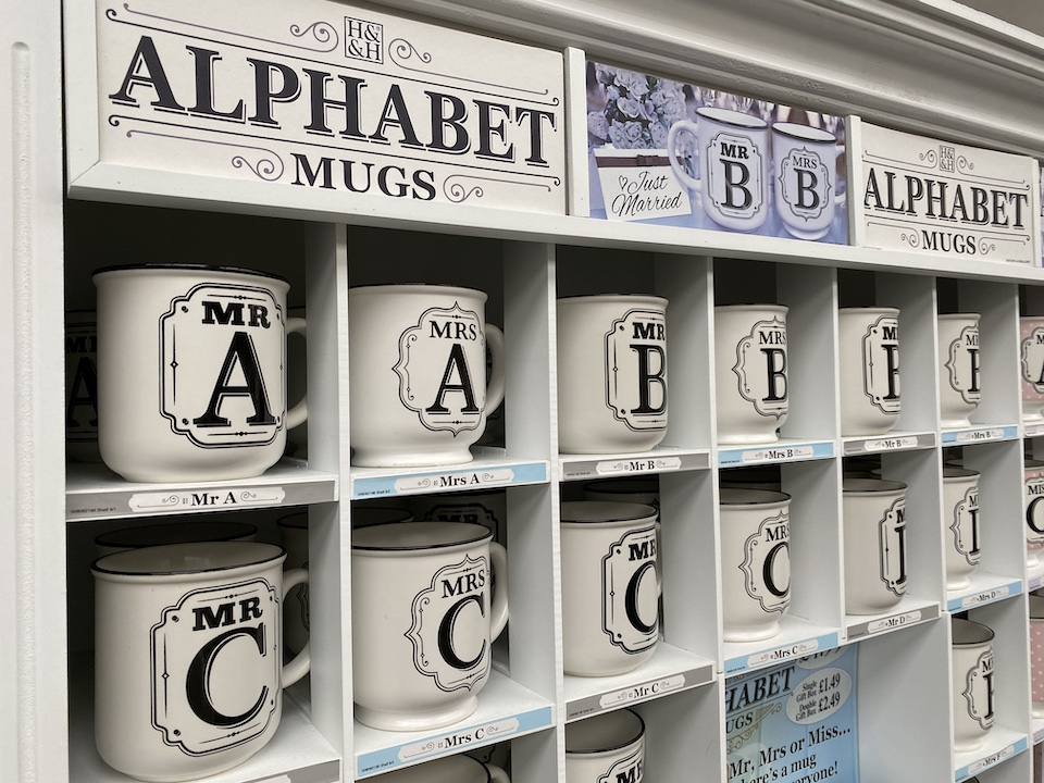 Alphabet mugs for gifts