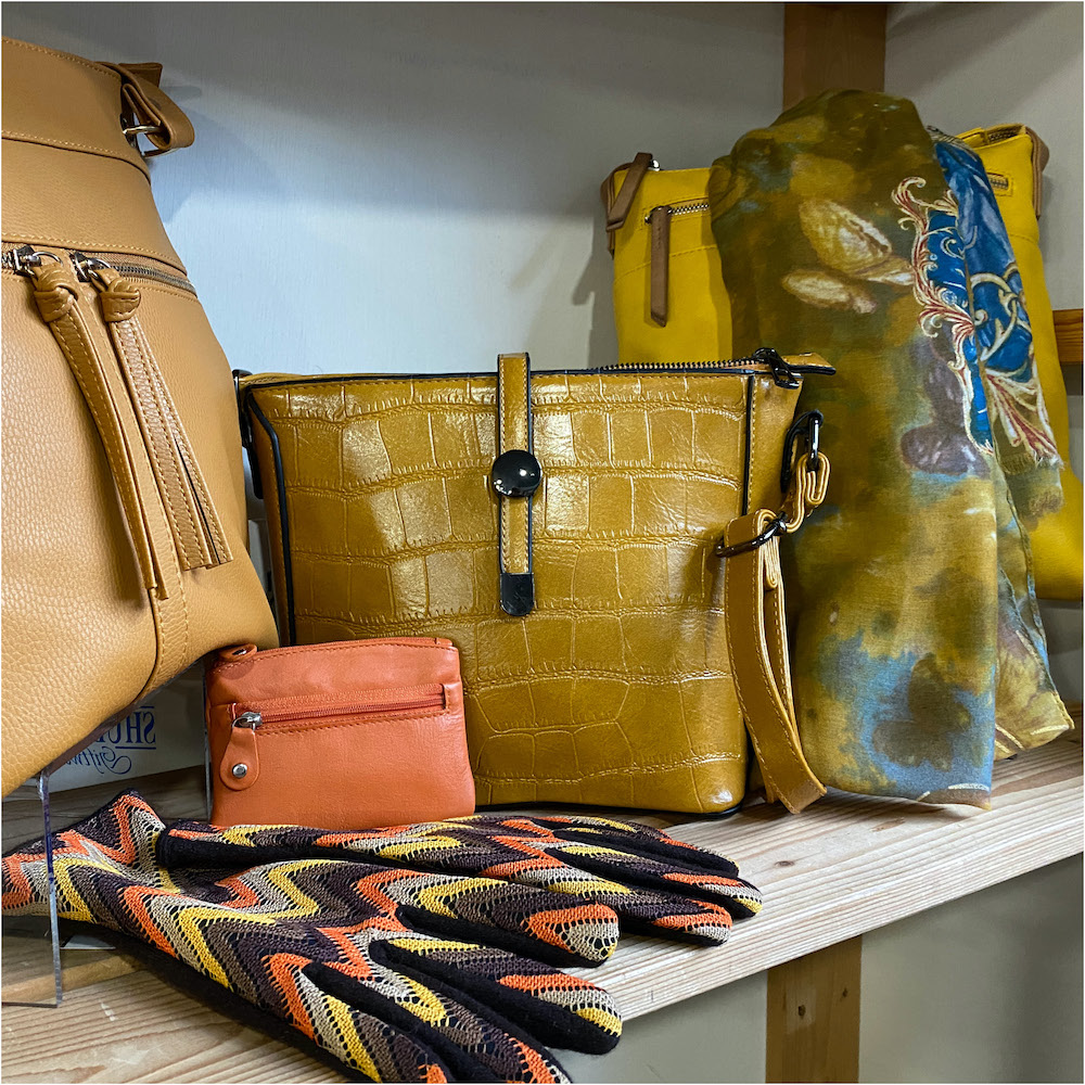 Mustard colour ladies handbags and accessories