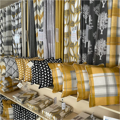 Yeloow and grey patterned curtains