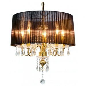 Beaumont Five Light Black and Gold Chandelier
