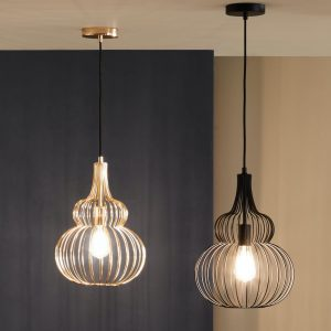 Gold and Matt Black Bird Cage Wire Pendant Lights