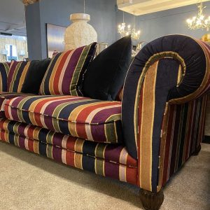 Elgar Grand 4 Seater Sofa College Stripe Fabric