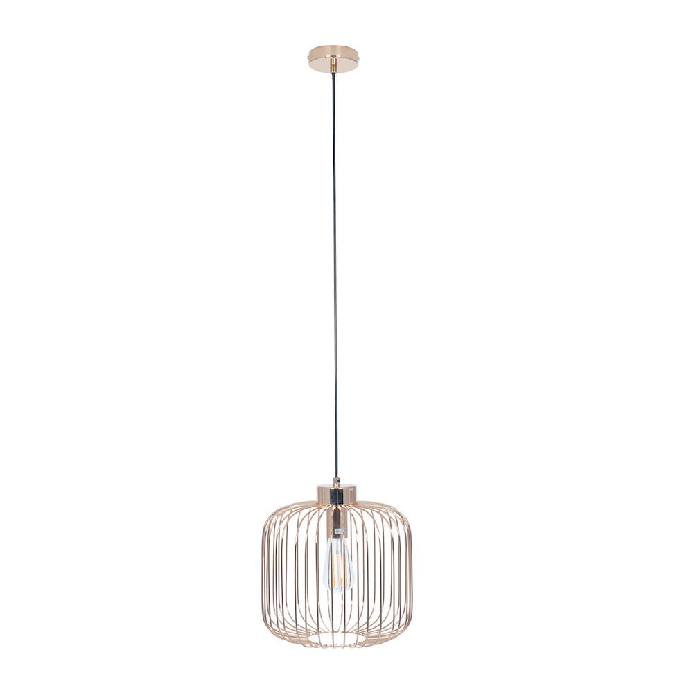 Gold Oblong Wire Pendant Light