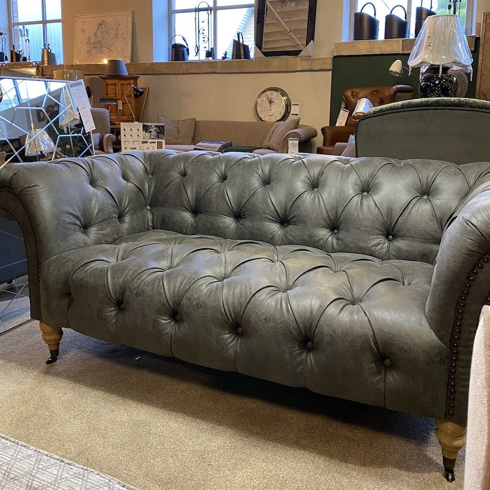 Grey Faux Leather Ellie Chesterfield