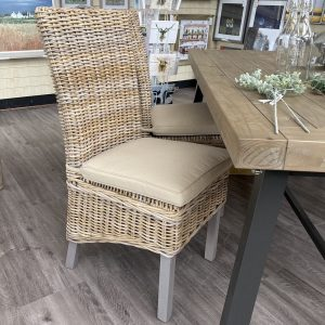 grey wash wicker dining chair set