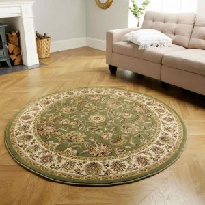 Kendra 3330G Green Round Rug