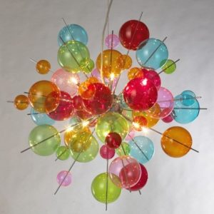 Multi-coloured bubble Chandelier