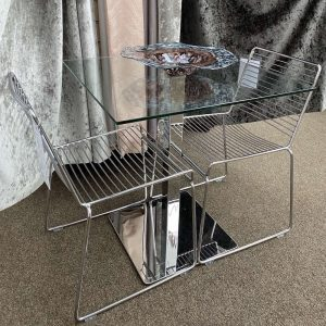 Square Glass and Metal Dining Set
