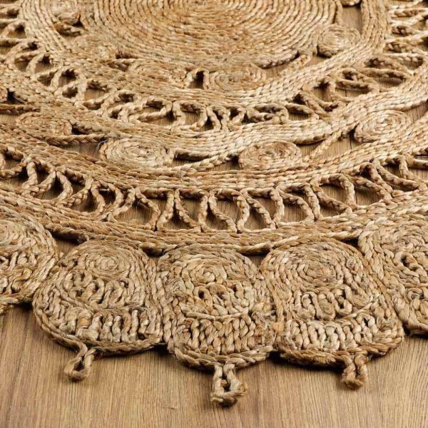 Zarla Natural Jute Round Rug edge
